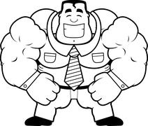 Cartoon Muscular Businessman Stock Illustration