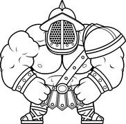 Stock Illustration of Cartoon Gladiator Flexing