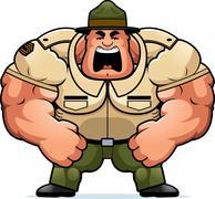 Cartoon Drill Sergeant Yelling - stock illustration