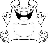 Cartoon Fat Mouse Sitting - stock illustration