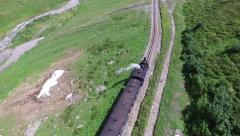 Aerial view of steam engine train locomotive, Switzerland, 4K, UHD Stock Footage