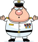 Stock Illustration of Confused Cartoon Navy Admiral