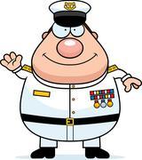 Cartoon Navy Admiral Waving Stock Illustration