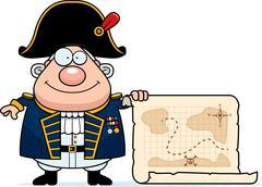 Cartoon British Admiral Treasure Map Stock Illustration