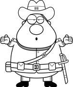 Confused Cartoon Confederate Soldier - stock illustration