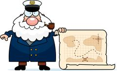 Cartoon Sea Captain Treasure Map - stock illustration