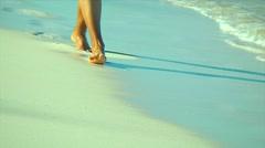 San Salvador bahamas beach walk Stock Footage