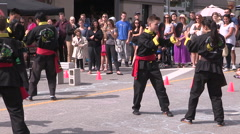 Martial arts demonstration at open streets Waterloo Stock Footage