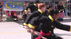 Martial arts demonstration at open streets Waterloo - stock footage