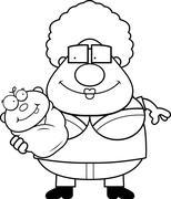 Cartoon Grandma Holding Baby Stock Illustration