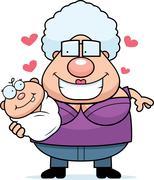 Cartoon Grandma Loving a Baby - stock illustration