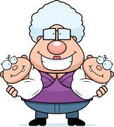 Happy Cartoon Grandma with Twins - stock illustration