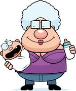 Cartoon Grandma Feeding Baby - stock illustration