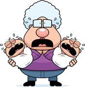 Scared Cartoon Grandma with Twins - stock illustration