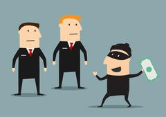 Security guards caught the thief with money Stock Illustration