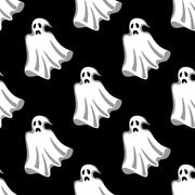 Seamless pattern of white Halloween ghosts - stock illustration