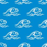 Stormy ocean waves seamless pattern Piirros