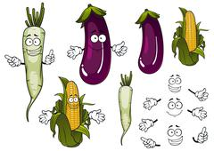Corn cob, daikon and eggplant vegetables - stock illustration
