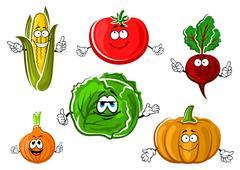 Happy autumnal vegetable cartoon characters Stock Illustration