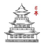 Japanese old pagoda tower sketch Stock Illustration