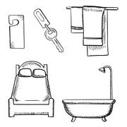 Key, door tag, bed, bathroom and towels sketch - stock illustration