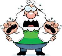 Scared Cartoon Grandpa with Twins - stock illustration
