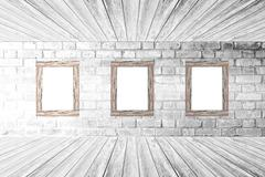 Wood wall and floor room interior White color - stock photo