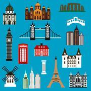 Stock Illustration of World travel landmark flat icons