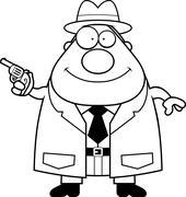 Cartoon Detective Gun Stock Illustration