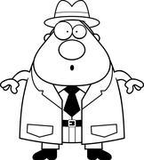 Surprised Cartoon Detective Stock Illustration