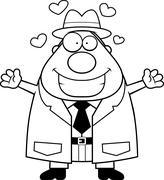 Cartoon Detective Hug Stock Illustration