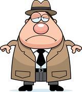 Sad Cartoon Detective Stock Illustration