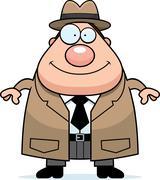 Happy Cartoon Detective - stock illustration