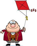 Cartoon Ben Franklin Kite Stock Illustration