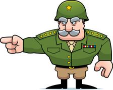 Cartoon Military General Pointing Stock Illustration