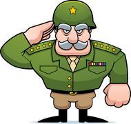 Stock Illustration of Cartoon Military General Salute