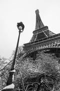 Eiffel tower under the snow - stock photo