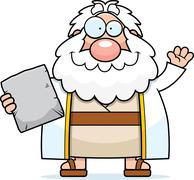 Cartoon Moses Waving Stock Illustration