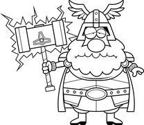Sad Cartoon Thor Stock Illustration