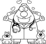 Cartoon Veterinarian Hug - stock illustration