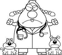 Angry Cartoon Veterinarian - stock illustration