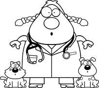 Surprised Cartoon Veterinarian - stock illustration