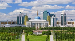 Panorama of the Astana city and the president's residence Akorda Stock Footage