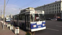 Moscow trolley buses on Sadovaya-Karetnaya ulitsa, Russia. Stock Footage