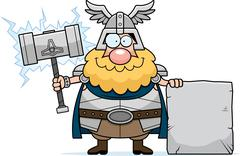 Cartoon Thor Sign - stock illustration