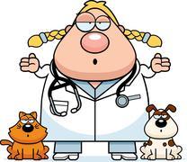 Stock Illustration of Confused Cartoon Veterinarian