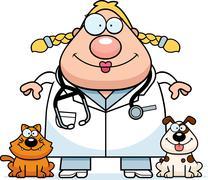 Happy Cartoon Veterinarian - stock illustration