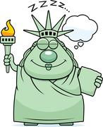 Sleeping Cartoon Statue of Liberty - stock illustration