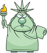 Stock Illustration of Angry Cartoon Statue of Liberty