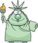 Stock Illustration of Happy Cartoon Statue of Liberty